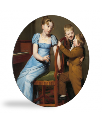 Het gestoorde pianospel - Schilderij van Willem Bartel van der Kooi wandcirkel
