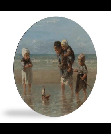 Kinderen der zee - Schilderij van Jozef Israëls wandcirkel