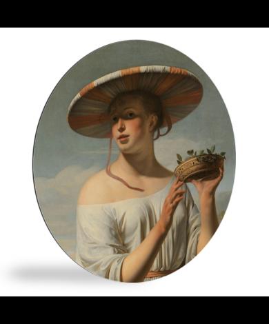 Meisje met een brede hoed - Schilderij van Caesar Boëtius van Everdingen wandcirkel