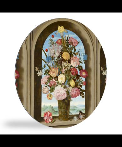 Vaas met bloemen in een venster - Schilderij van Ambrosius Bosschaert de Oude wandcirkel