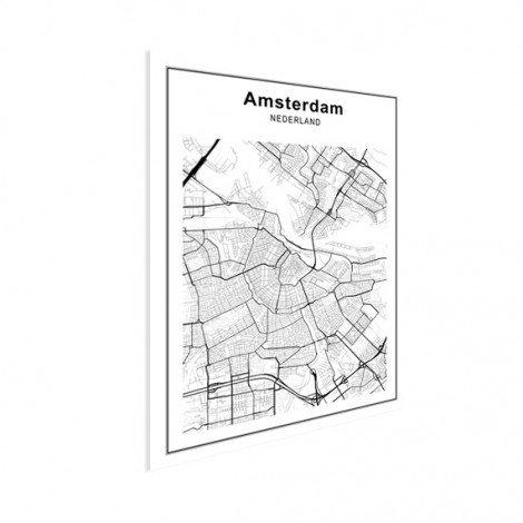 Stadskaart Amsterdam zwart-wit poster