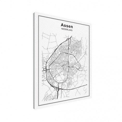 Stadskaart Assen zwart-wit canvas