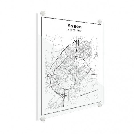 Stadskaart Assen zwart-wit plexiglas