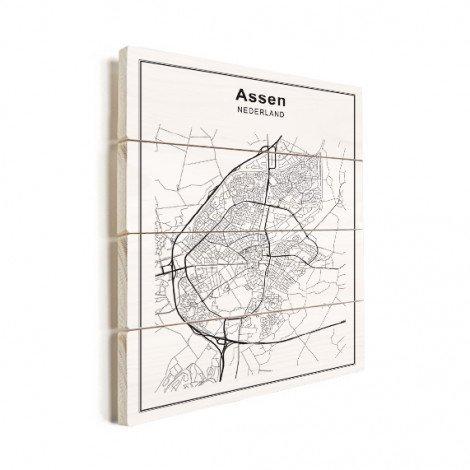 Stadskaart Assen zwart-wit hout