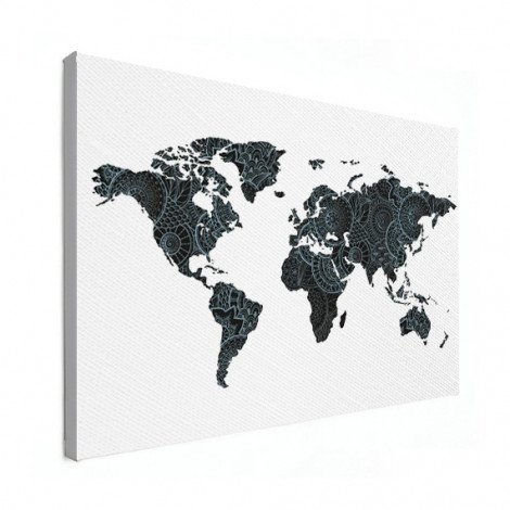 Aziatische print zwart-blauw canvas