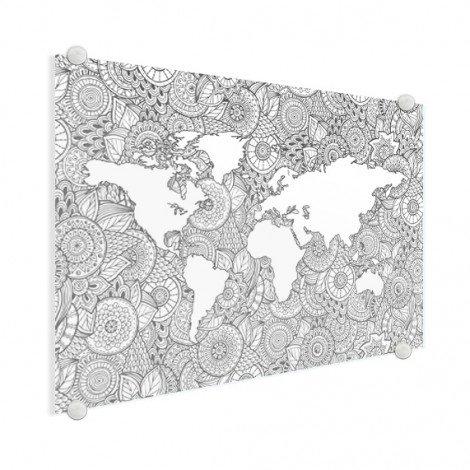 Aziatische print zwart-wit plexiglas
