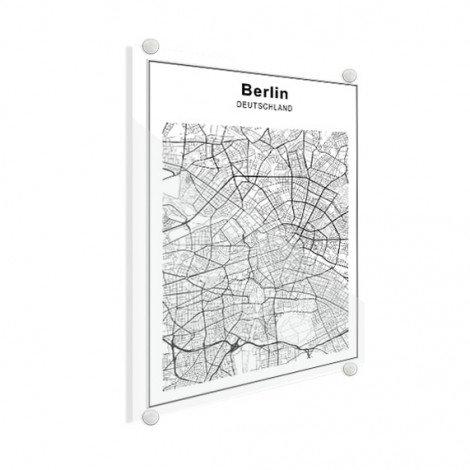 Stadskaart Berlijn zwart-wit plexiglas