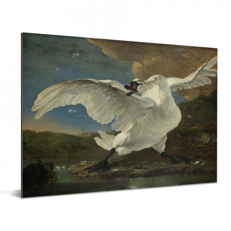 De bedreigde zwaan - Schilderij van Jan Asselijn Aluminium