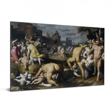 De kindermoord in Bethlehem - Schilderij van Cornelis Cornelisz van Haarlem Aluminium