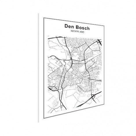 Stadskaart Den Bosch zwart-wit poster