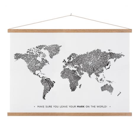 Vingerafdruk zwart-wit textielposter