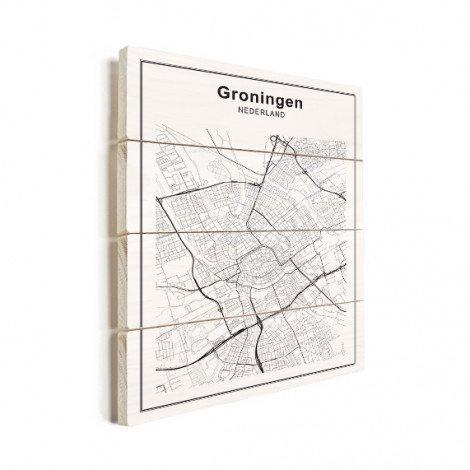 Stadskaart Groningen zwart-wit hout