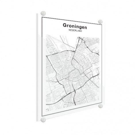 Stadskaart Groningen zwart-wit plexiglas