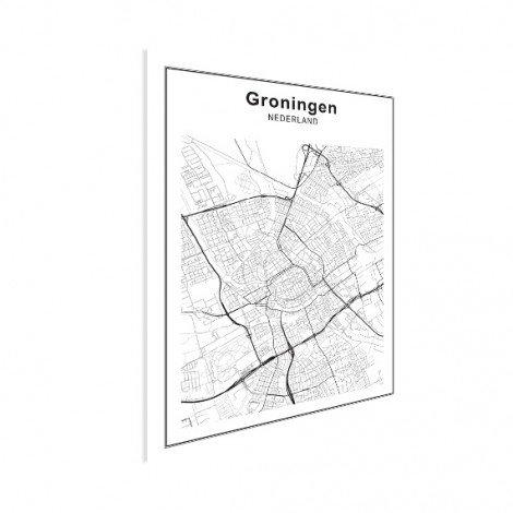 Stadskaart Groningen zwart-wit poster