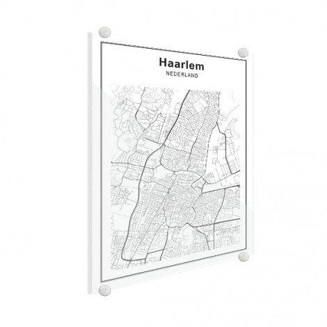 Stadskaart Haarlem zwart-wit plexiglas