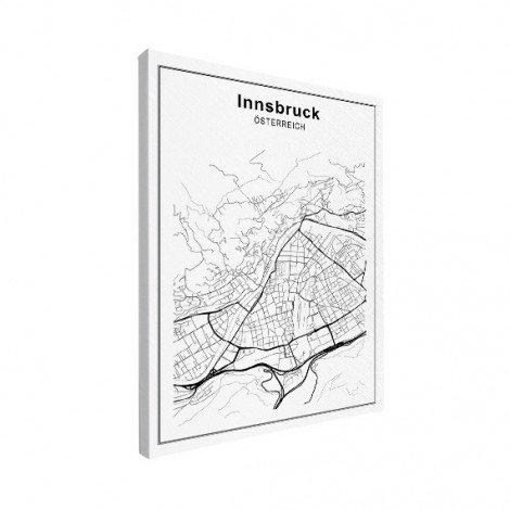 Stadskaart Innsbruck zwart-wit canvas