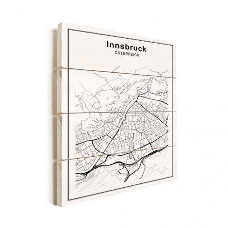 Stadskaart Innsbruck zwart-wit hout