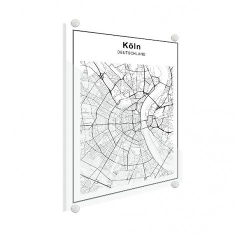 Stadskaart Keulen zwart-wit plexiglas