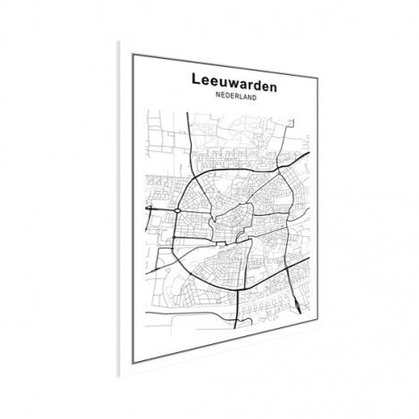 Stadskaart Leeuwarden zwart-wit poster