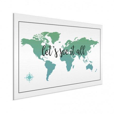 Wereldkaart Tekst see it all met kompas aluminium