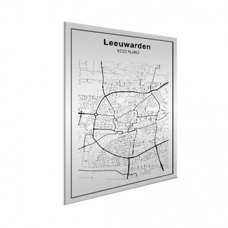 Stadskaart Ljouwert zwart-wit aluminium