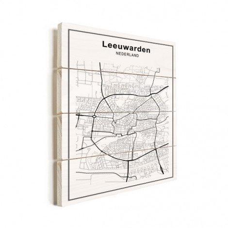 Stadskaart Ljouwert zwart-wit hout