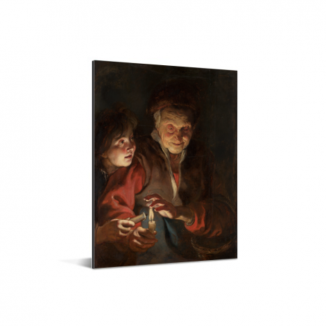 Oude vrouw en jongen met kaarsen - Schilderij van Peter Paul Rubens Aluminium