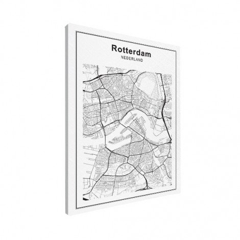 Stadskaart Rotterdam zwart-wit canvas