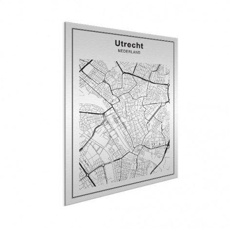 Stadskaart Utrecht zwart-wit aluminium