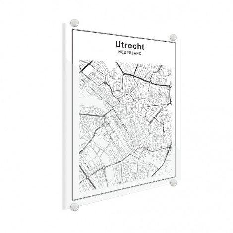 Stadskaart Utrecht zwart-wit plexiglas