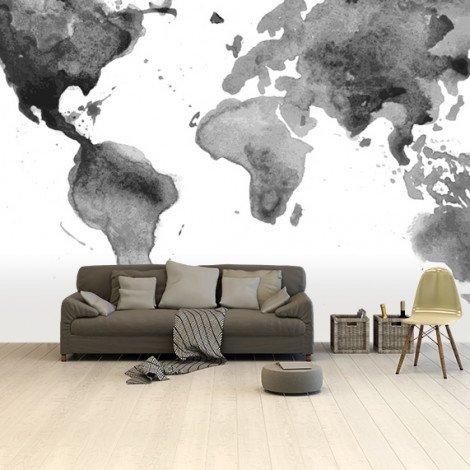 Aquarel - zwart/wit behang