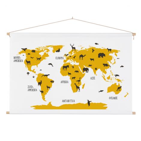 Dieren geel textielposter