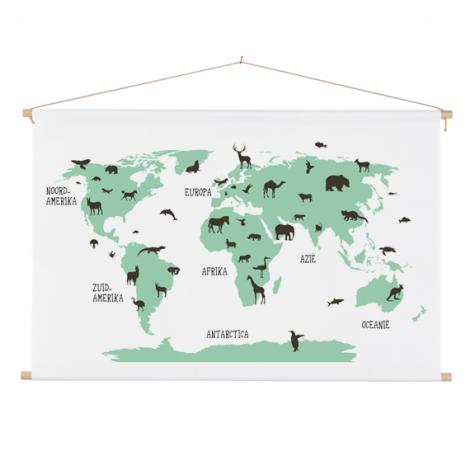 Dieren groen textielposter