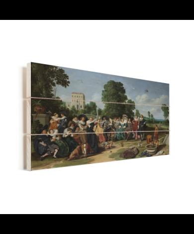 De buitenpartij - Kunstreproductie van Dirck Hals Vurenhout met planken