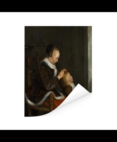De luizenjacht - Schilderij van Gerard ter Borch Poster