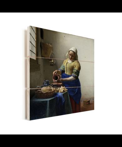 Het melkmeisje - Schilderij van Johannes Vermeer Vurenhout met planken