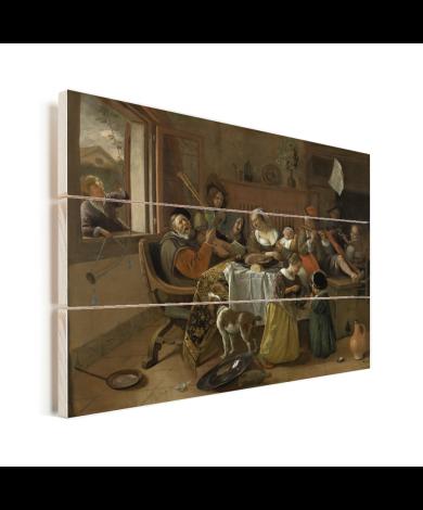 Het vrolijke huisgezin - Schilderij van Jan Steen Vurenhout met planken