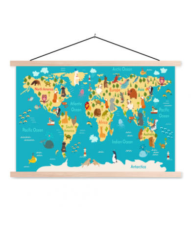 Continenten en zeeën textielposter