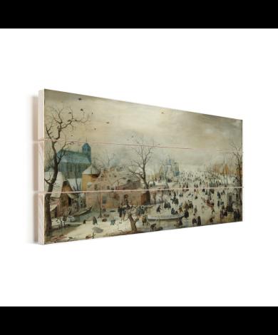 Winterlandschap met ijsvermaak - Schilderij van Hendrik Avercamp Vurenhout met planken