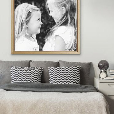Foto op canvas met baklijst