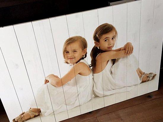 Kinderfoto op hout