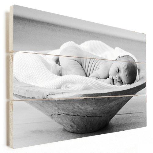 Foto op hout met baby