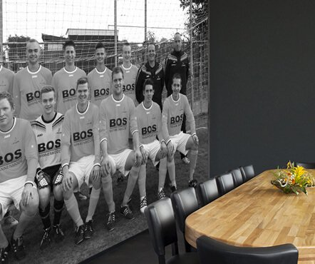 Teamfoto op fotobehang