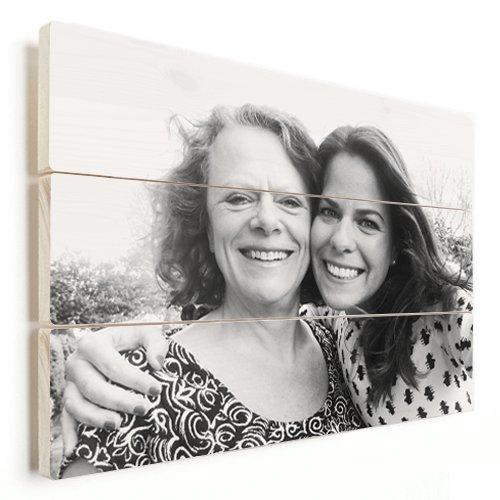 Foto op hout moeder en dochter