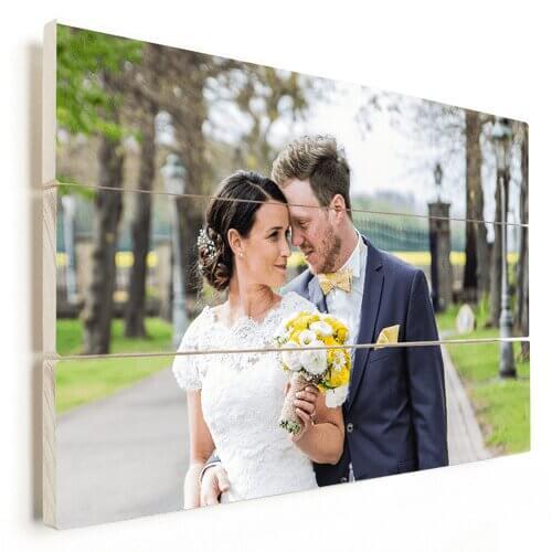 Foto op hout met trouwfoto