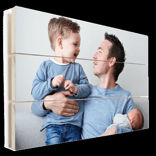 Foto op hout vader met kinderen