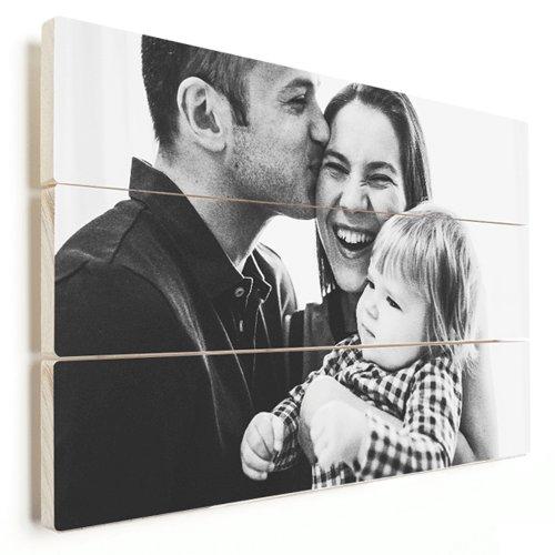 Foto op hout jong gezin