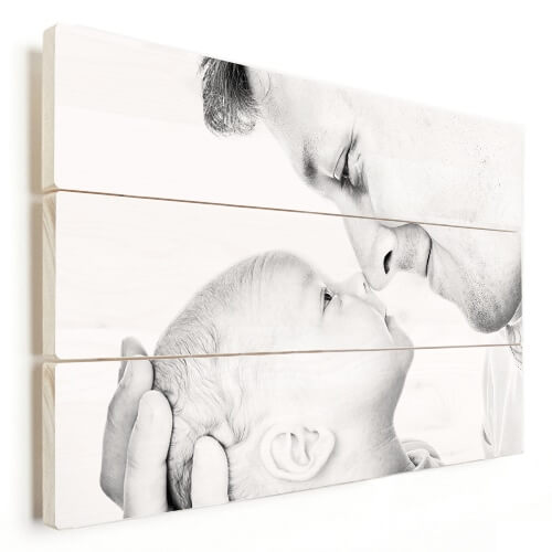 Foto op hout vader met baby