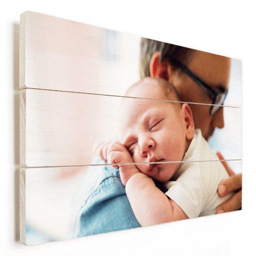 Foto op hout met vader en baby