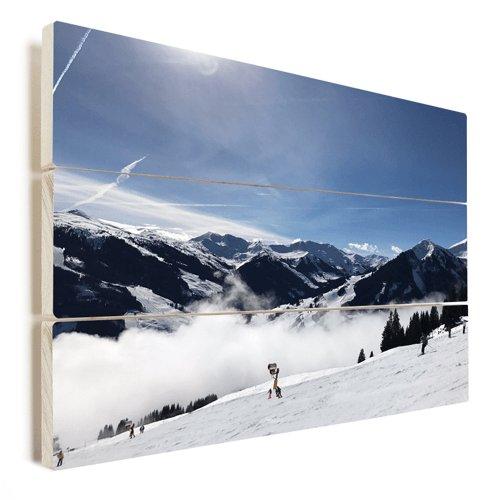 Foto op hout winter uitzicht